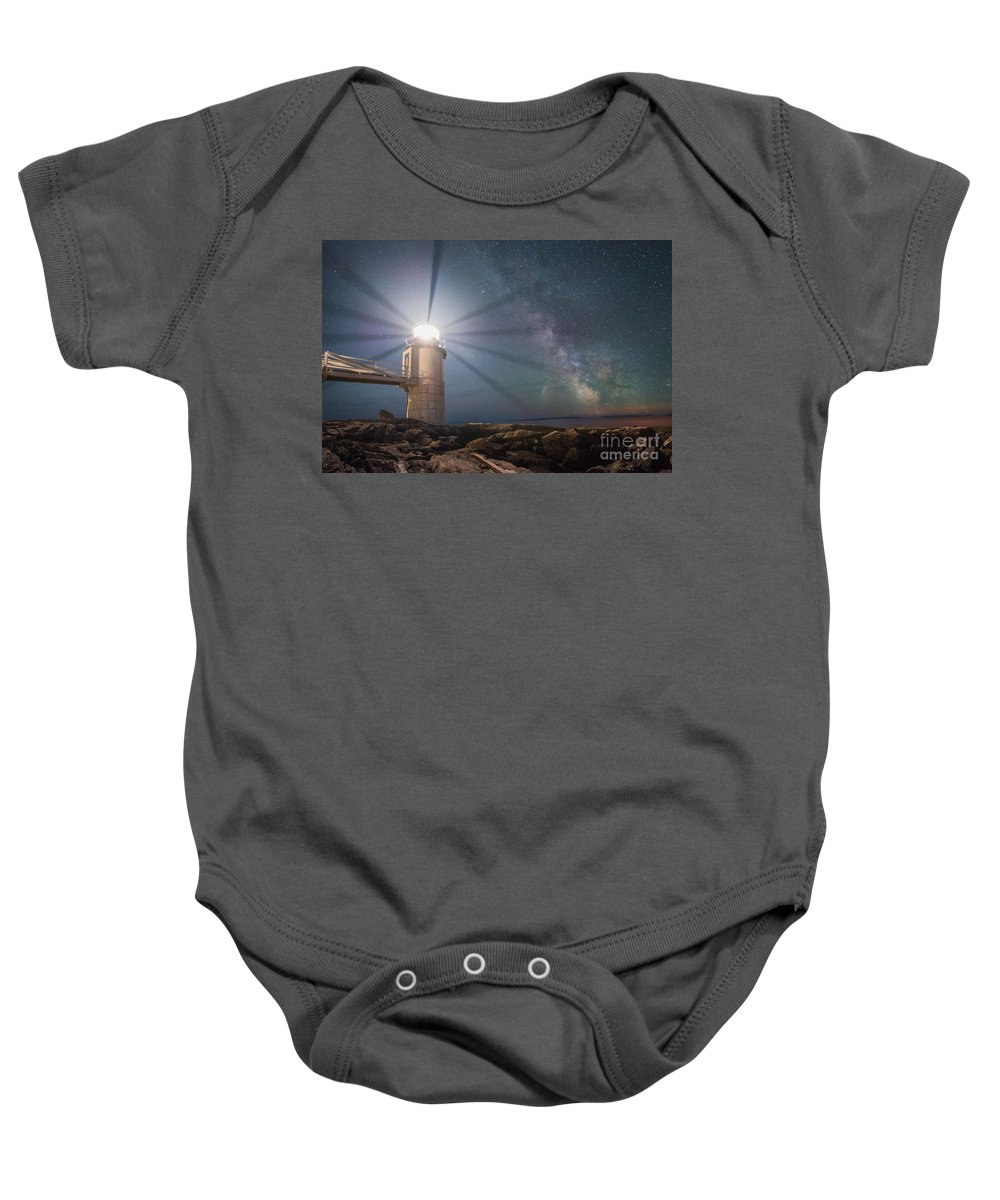 Marshall Point Lighthouse Baby Onesie featuring the photograph Milky Way Beacon Of Light by Michael Ver Sprill