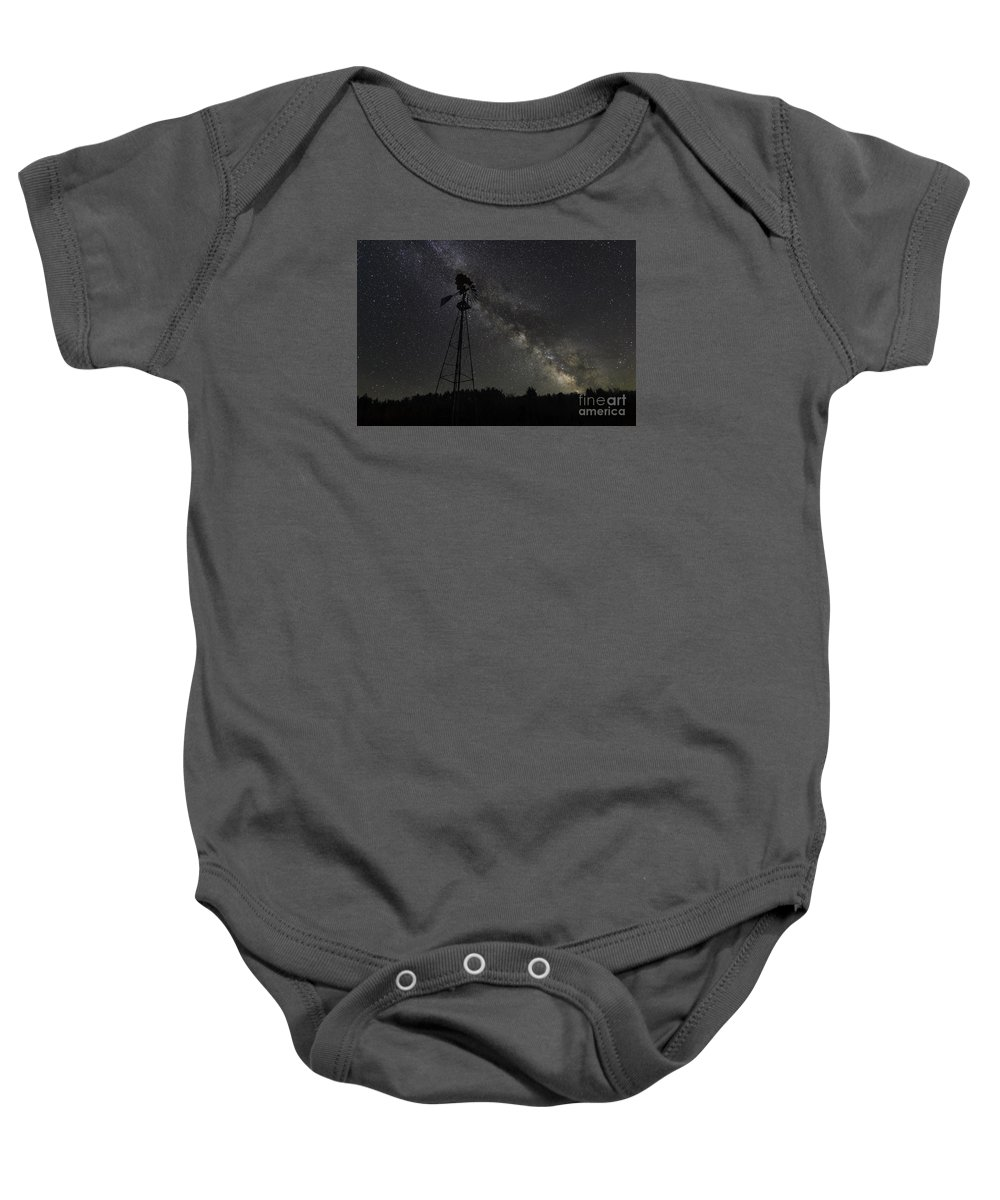 The Explorer Baby Onesie featuring the photograph Milky Way Windmill by Michael Ver Sprill