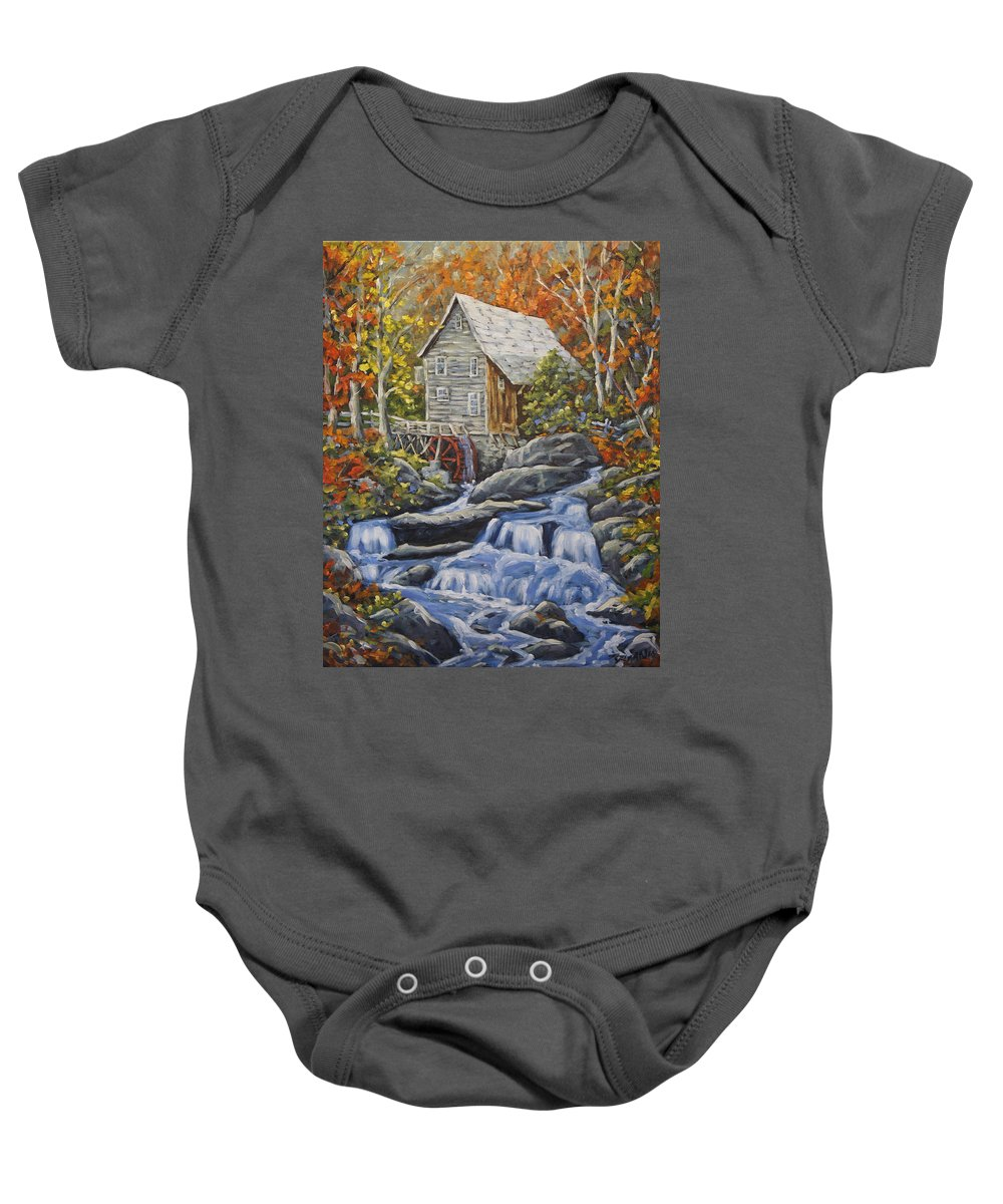 Art Baby Onesie featuring the painting Mill Scene 03 by Richard T Pranke