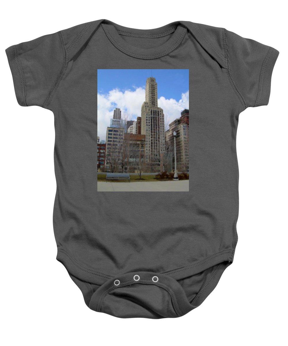 Chicago Baby Onesie featuring the digital art Millenium Park And Bench 2 by Anita Burgermeister
