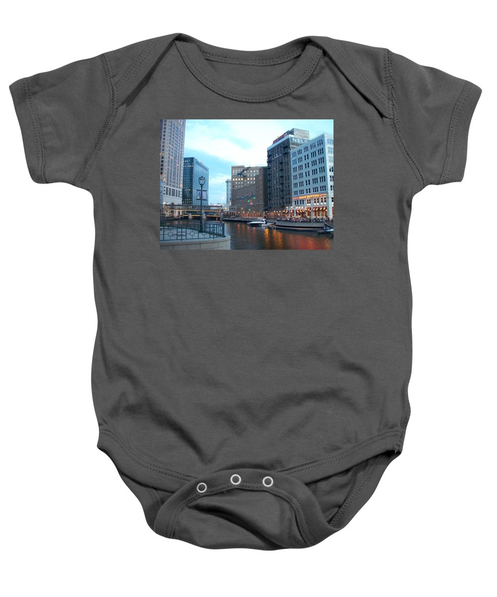 Milwaukee Baby Onesie featuring the photograph Milwaukee River Walk by Anita Burgermeister