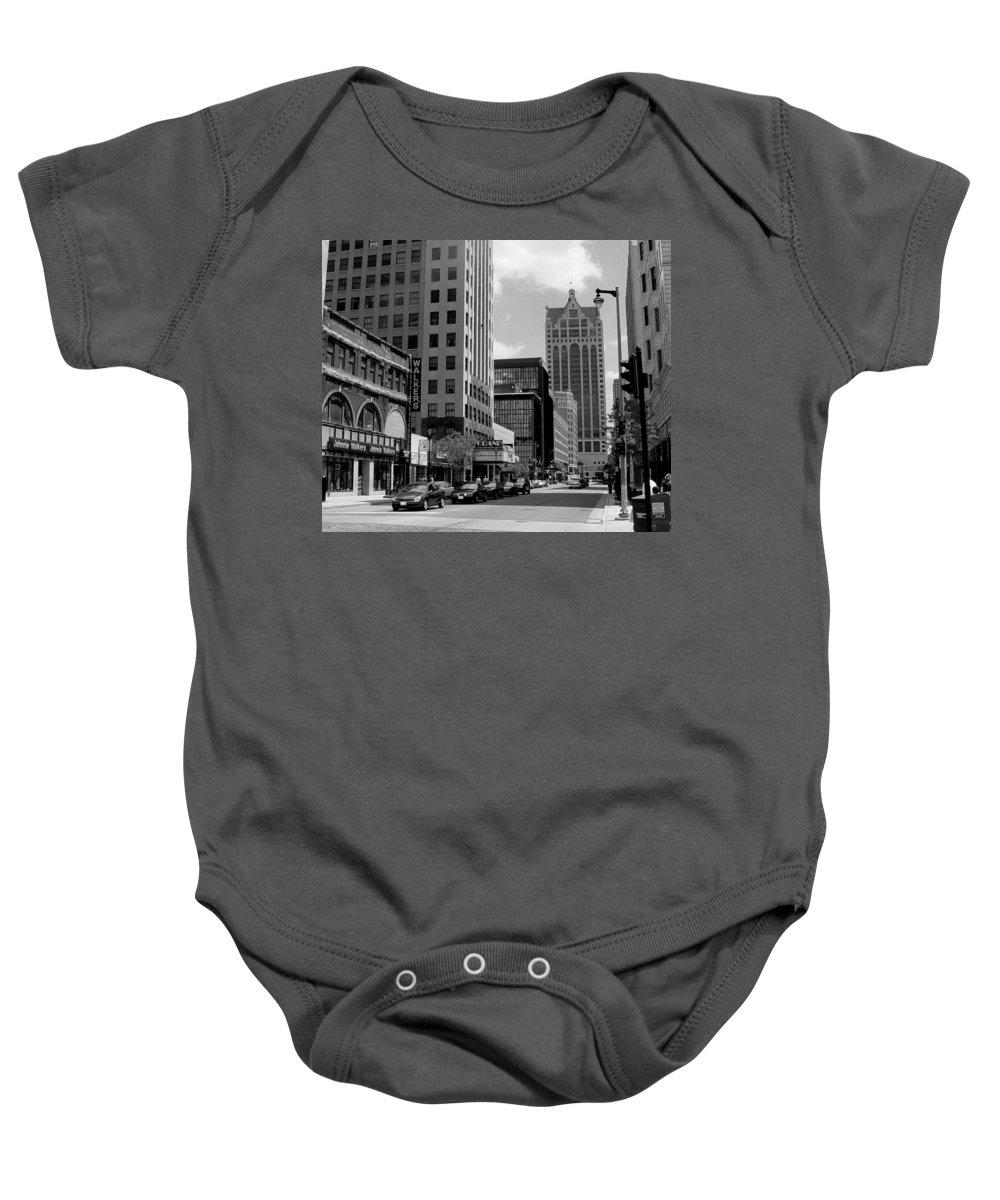 Milwaukee Baby Onesie featuring the photograph Milwaukee Street Scene B-w by Anita Burgermeister