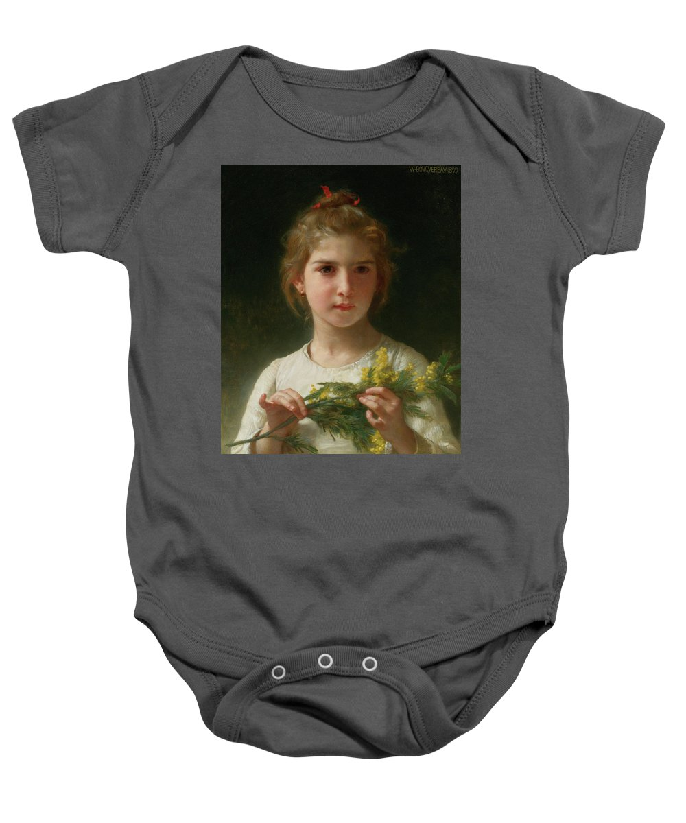 William-adolphe Bouguereau (french Baby Onesie featuring the painting Mimosa by Adolphe