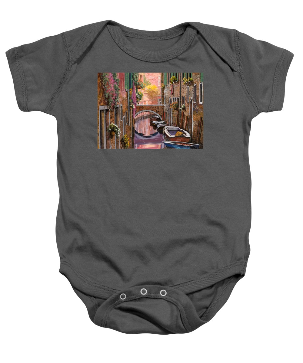 Venice Baby Onesie featuring the painting Mimosa Sui Canali by Guido Borelli