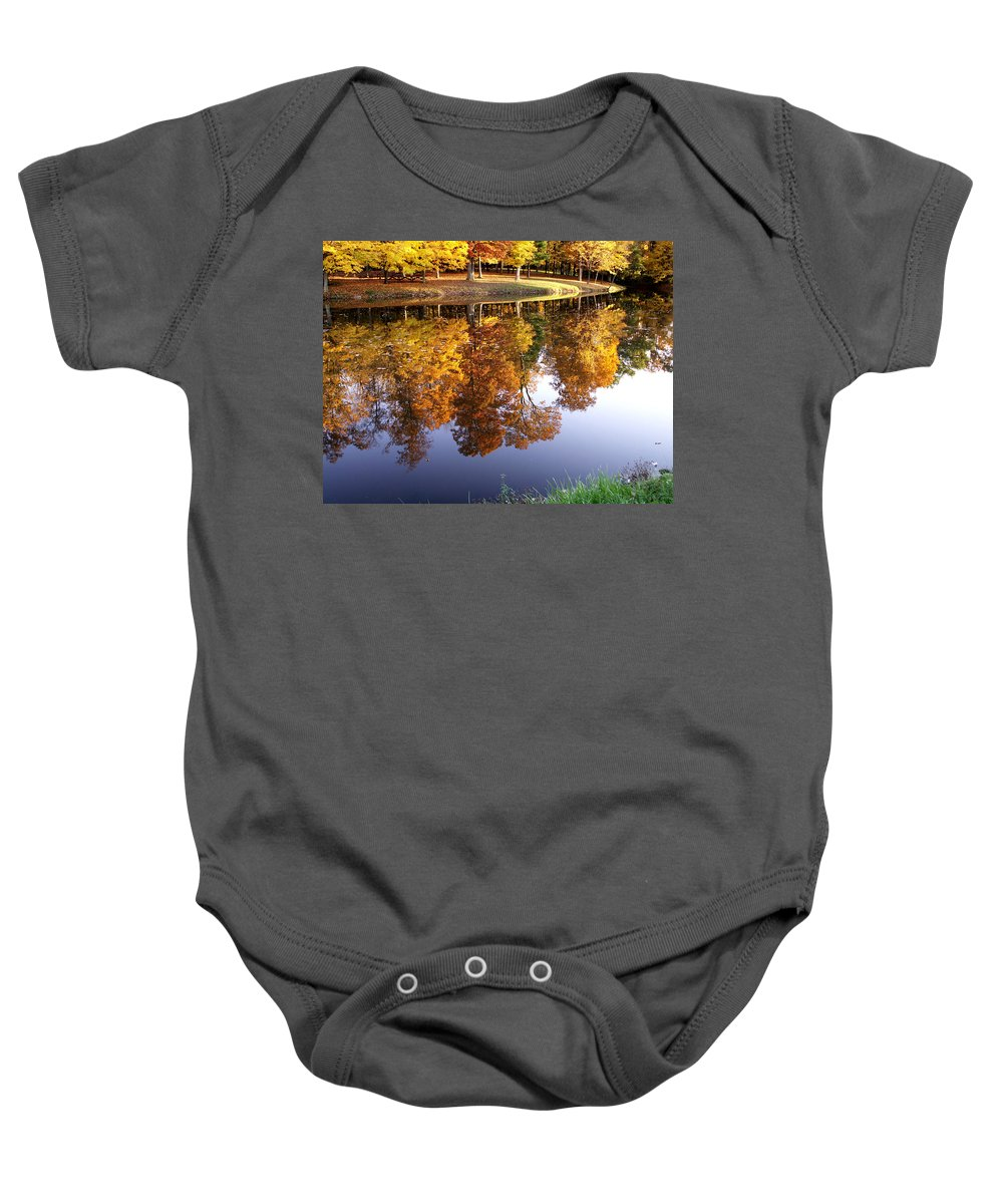 jenny Gandert Lake Gold Mining Water Reflection Sky Blue Yellow Maple Maples Trees Autumn Fall Grass Real Baby Onesie featuring the photograph Mining For Gold by Jenny Gandert