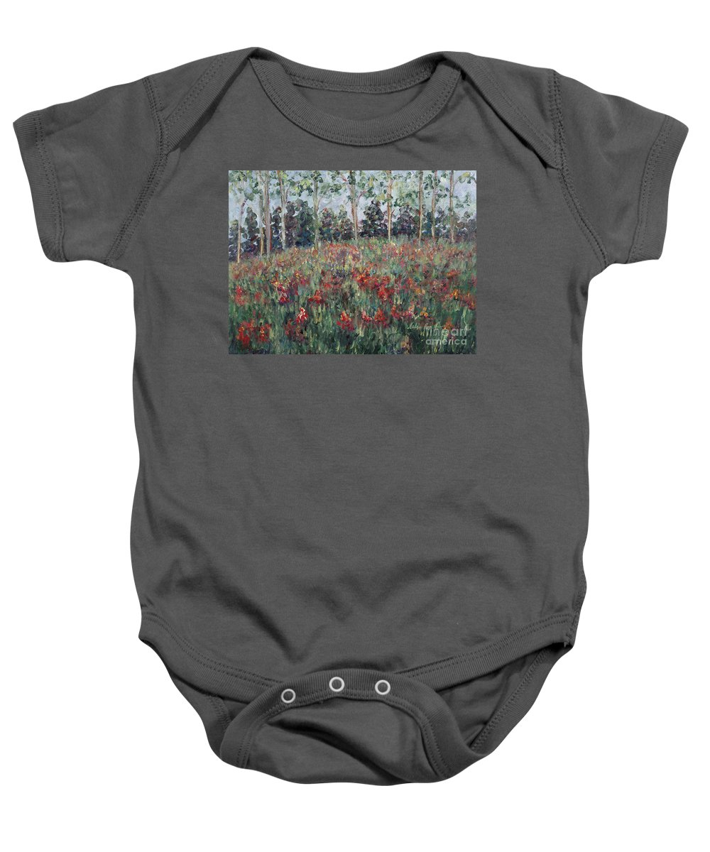 Landscape Baby Onesie featuring the painting Minnesota Wildflowers by Nadine Rippelmeyer