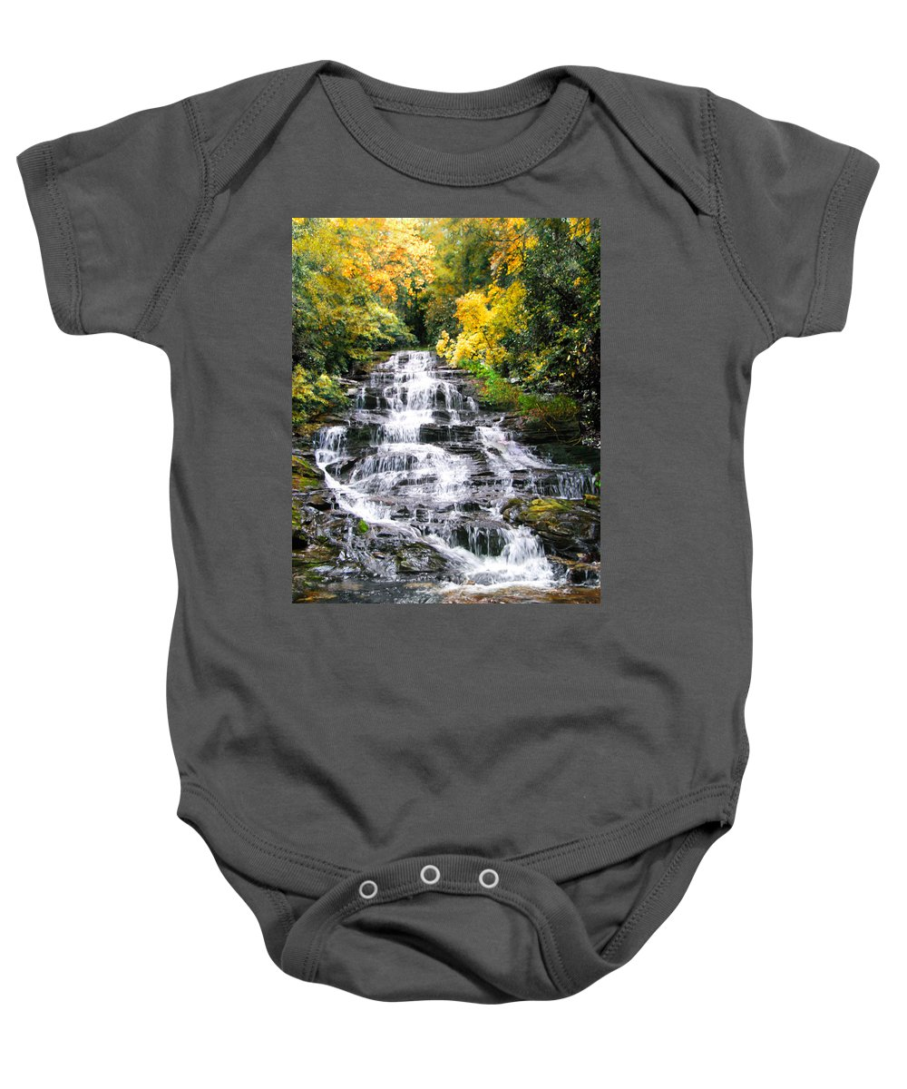 Boulder Baby Onesie featuring the digital art Minnihaha Falls In Autumn by Francesa Miller