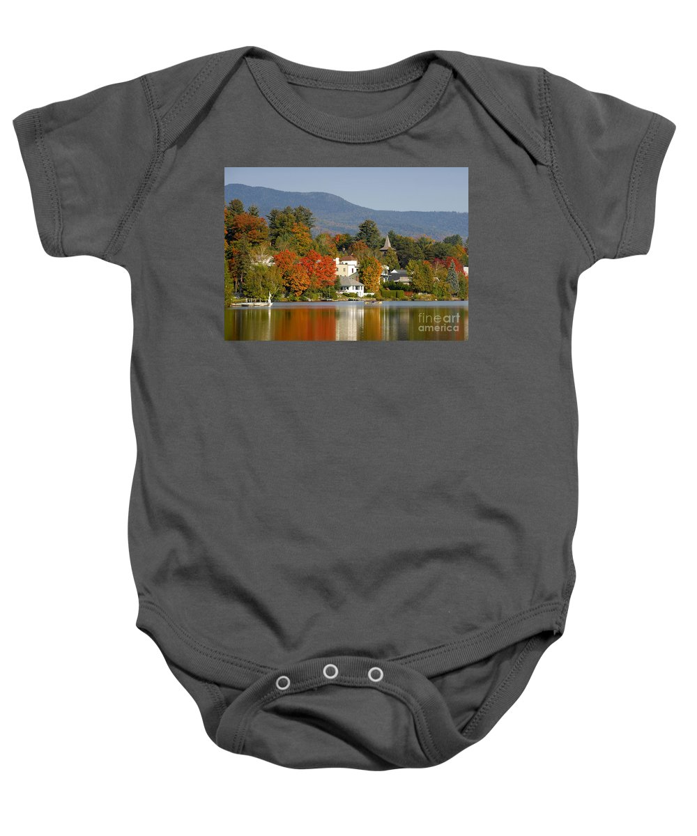 Adirondack Mountains Baby Onesie featuring the photograph Mirror Lake by David Lee Thompson
