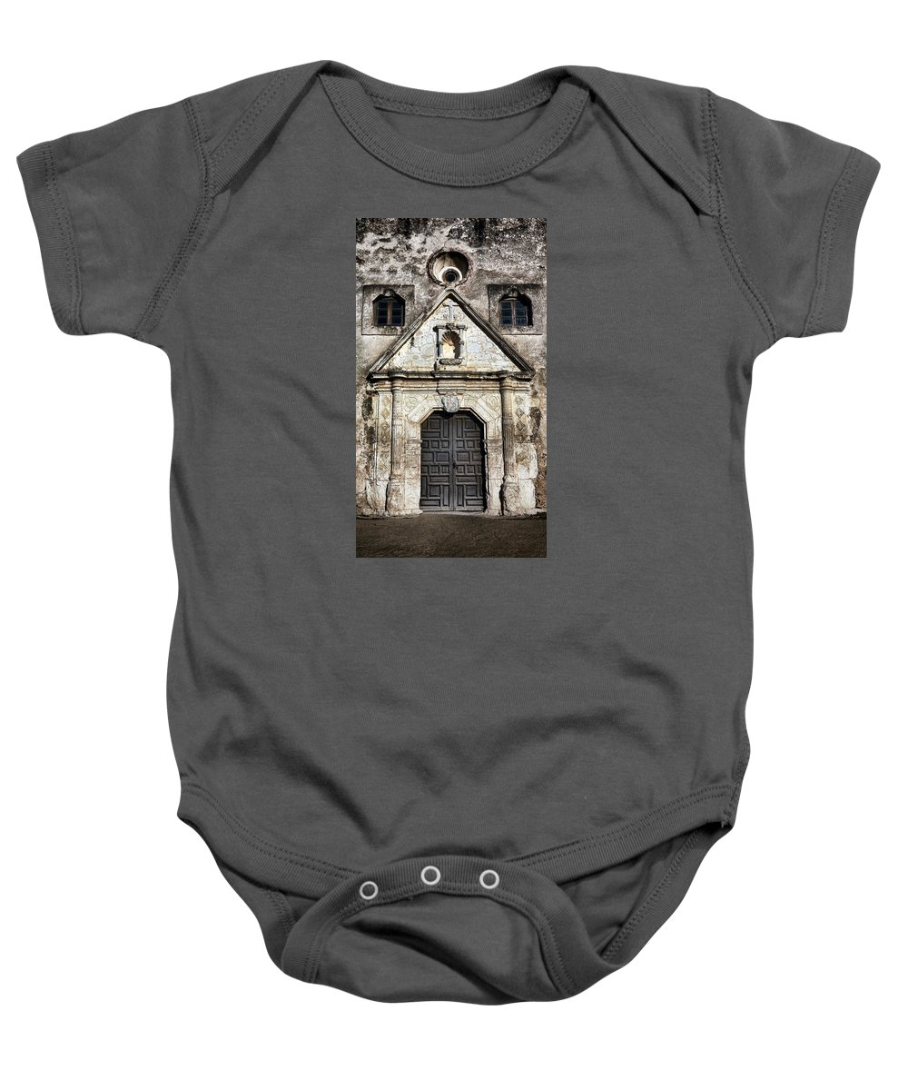 Texas Baby Onesie featuring the photograph Mission Concepcion Front by Stephen Stookey