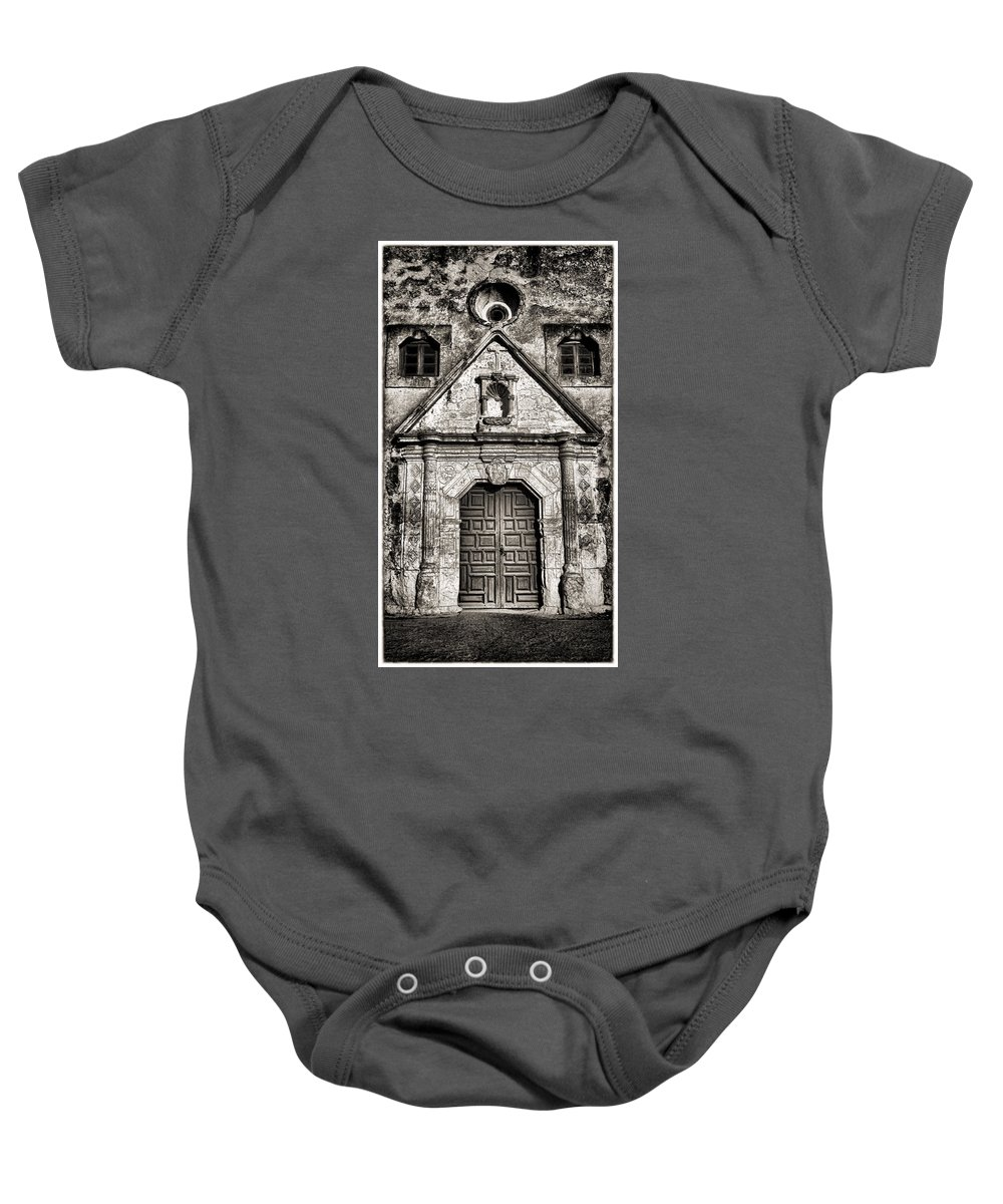 Texas Baby Onesie featuring the photograph Mission Concepcion - Bw Toned Border by Stephen Stookey