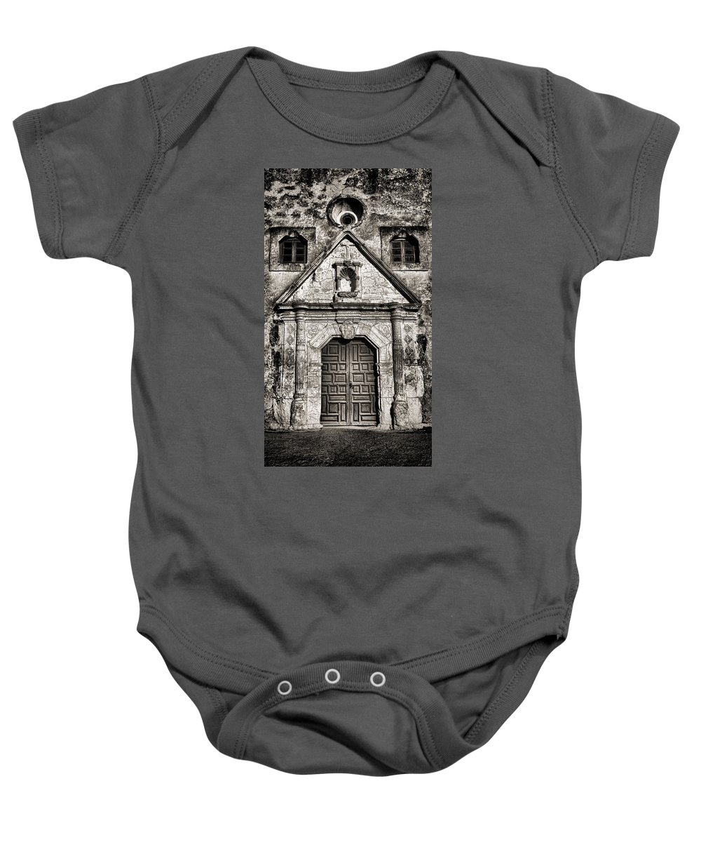 Texas Baby Onesie featuring the photograph Mission Concepcion Front - Toned Bw by Stephen Stookey