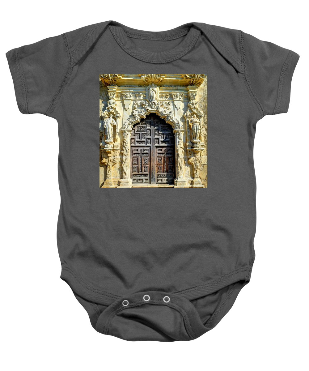 San Jose Baby Onesie featuring the photograph Mission Door by David Morefield