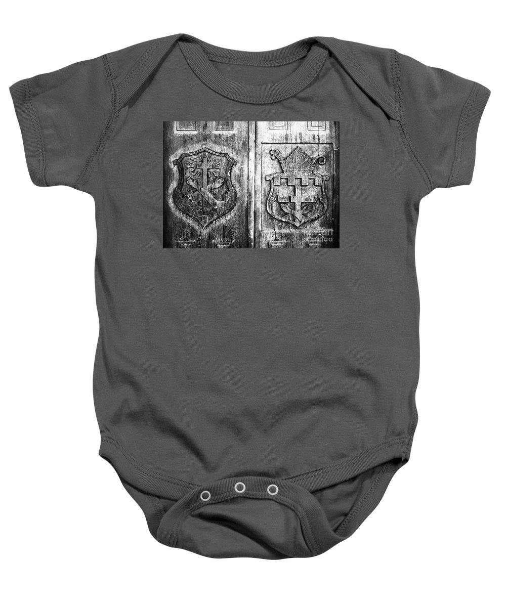Mission Baby Onesie featuring the photograph Mission Doors by David Lee Thompson