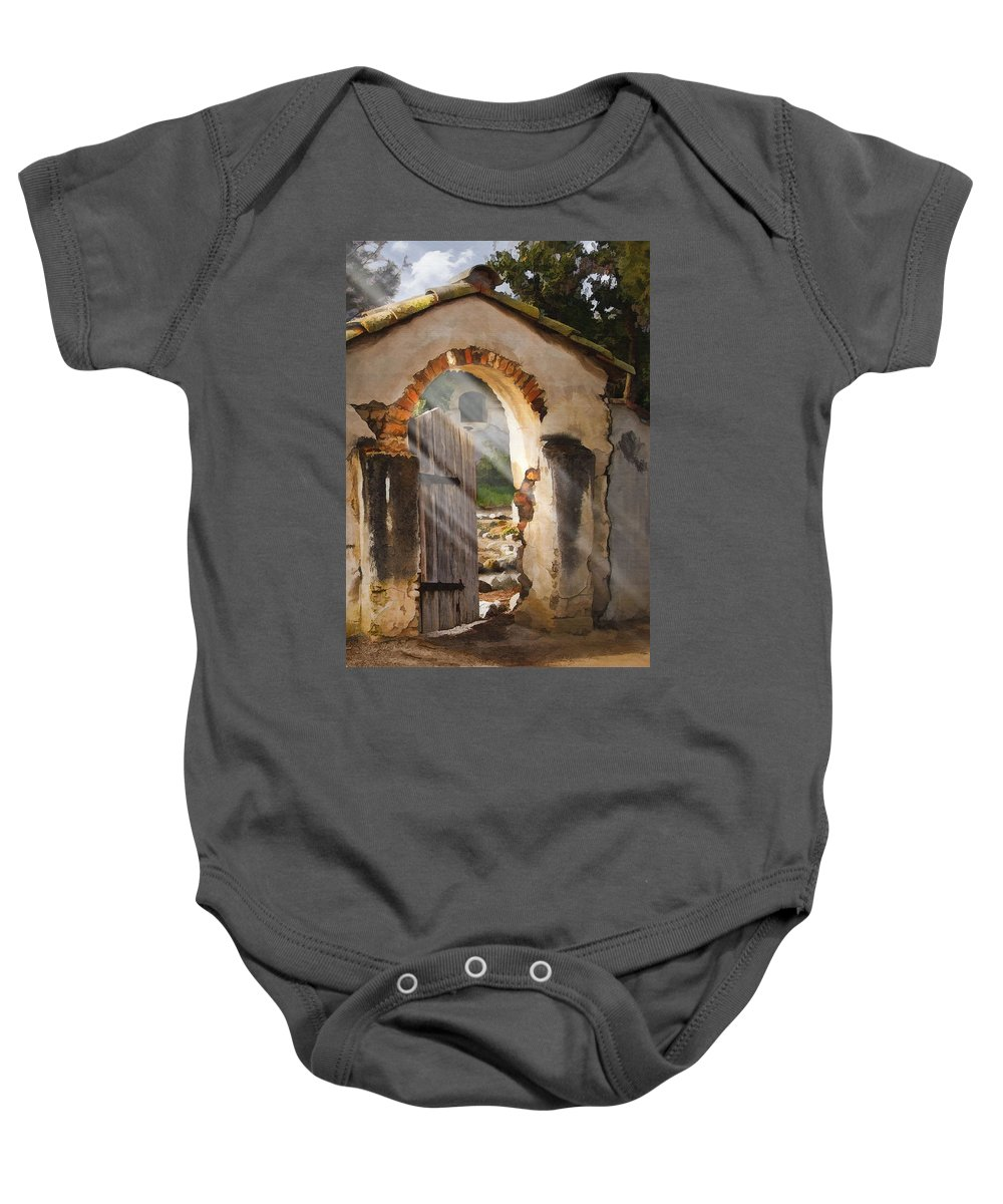 Architecture Baby Onesie featuring the photograph Mission Gate by Sharon Foster