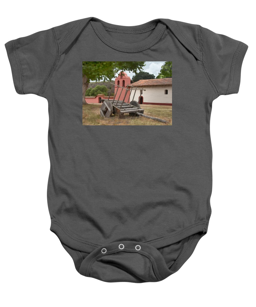 Wagon Baby Onesie featuring the digital art Mission Wagon by Sharon Foster