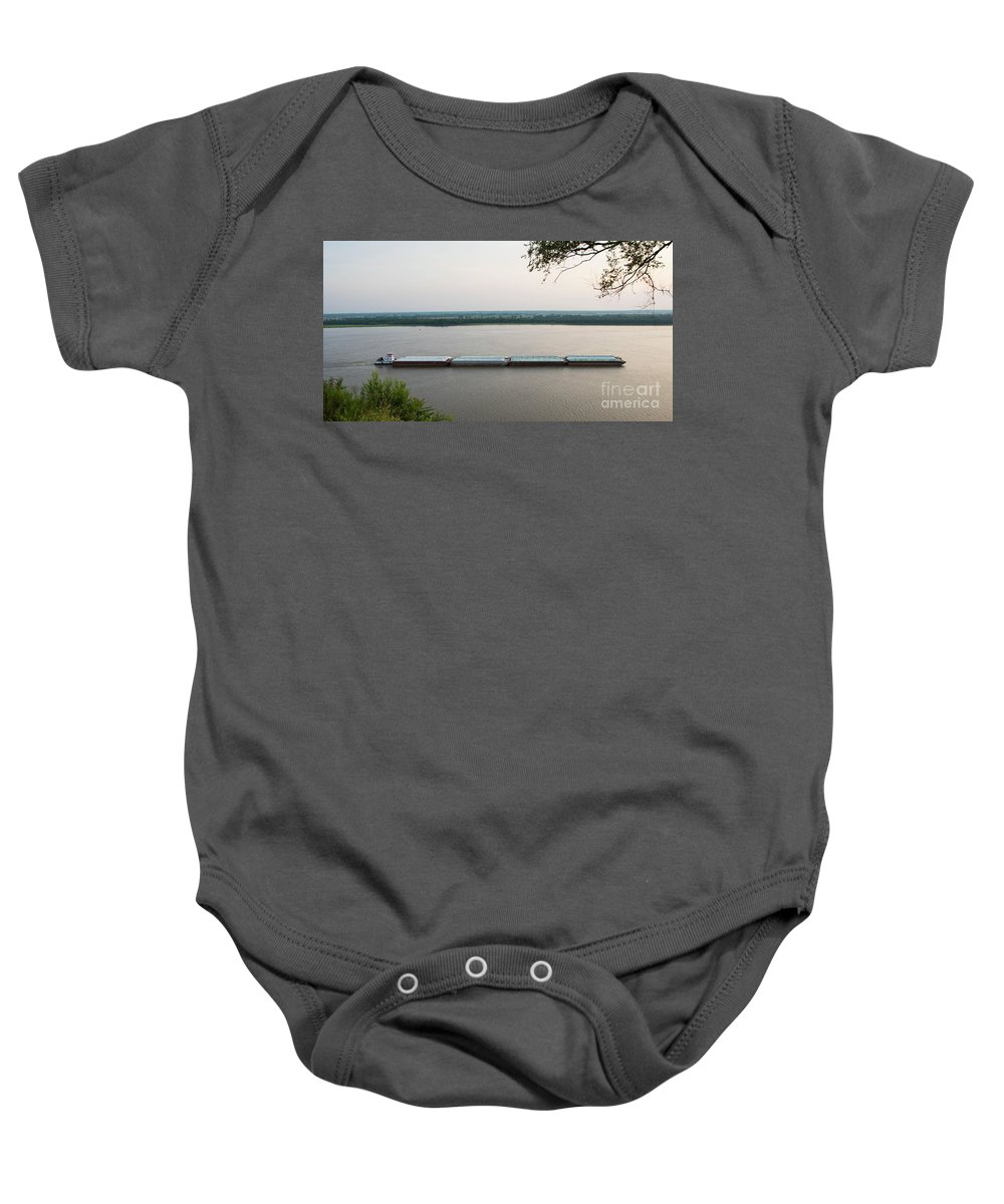 Barge Baby Onesie featuring the photograph Mississippi River Barge by Brenda Gray