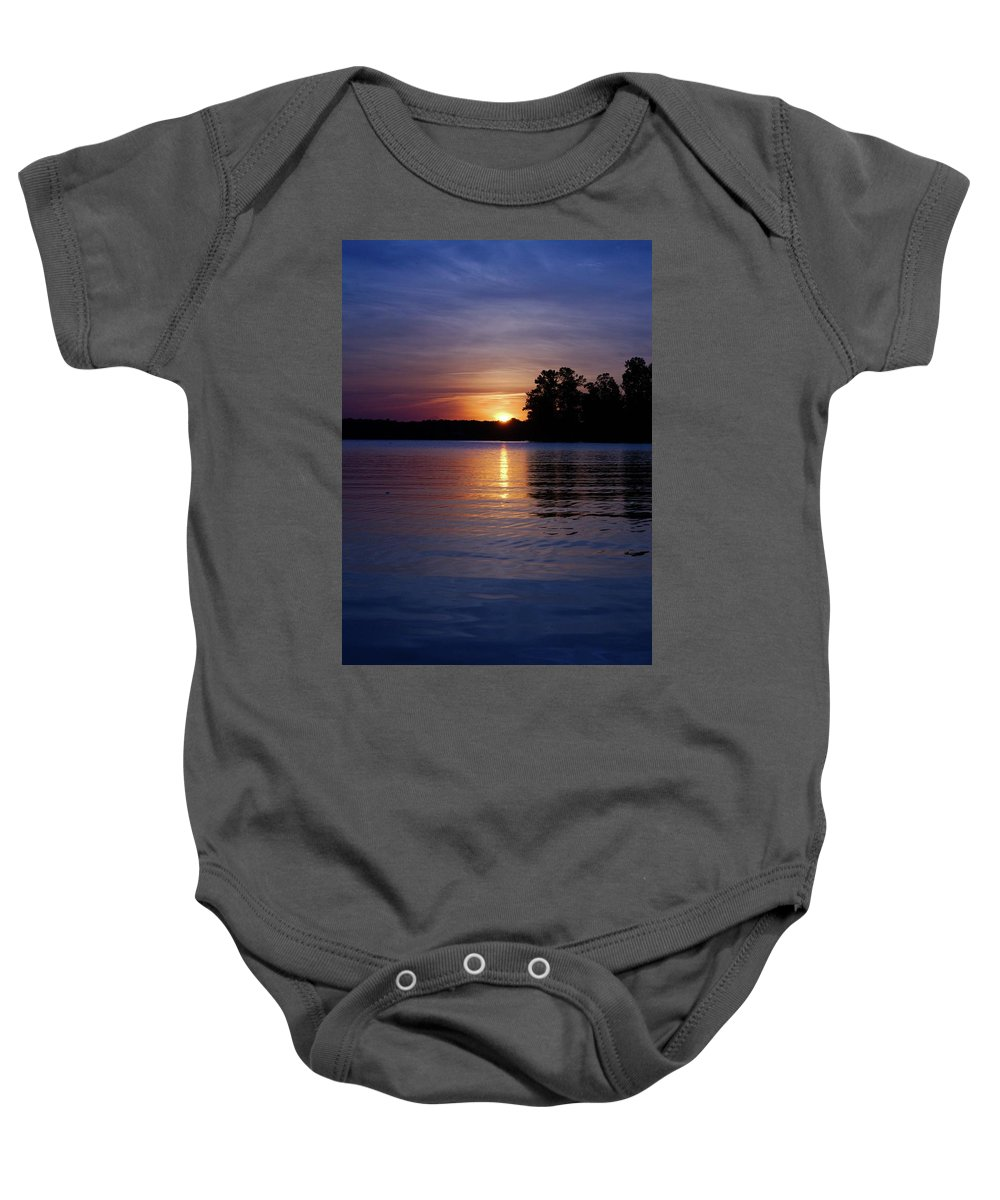 Sky Baby Onesie featuring the photograph Misty Blue by Tony Hill