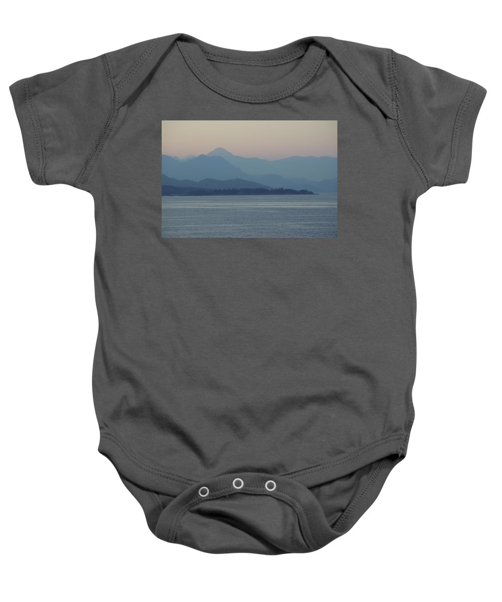 Baby Onesie featuring the photograph Misty Hills On The Strait by Cindy Johnston