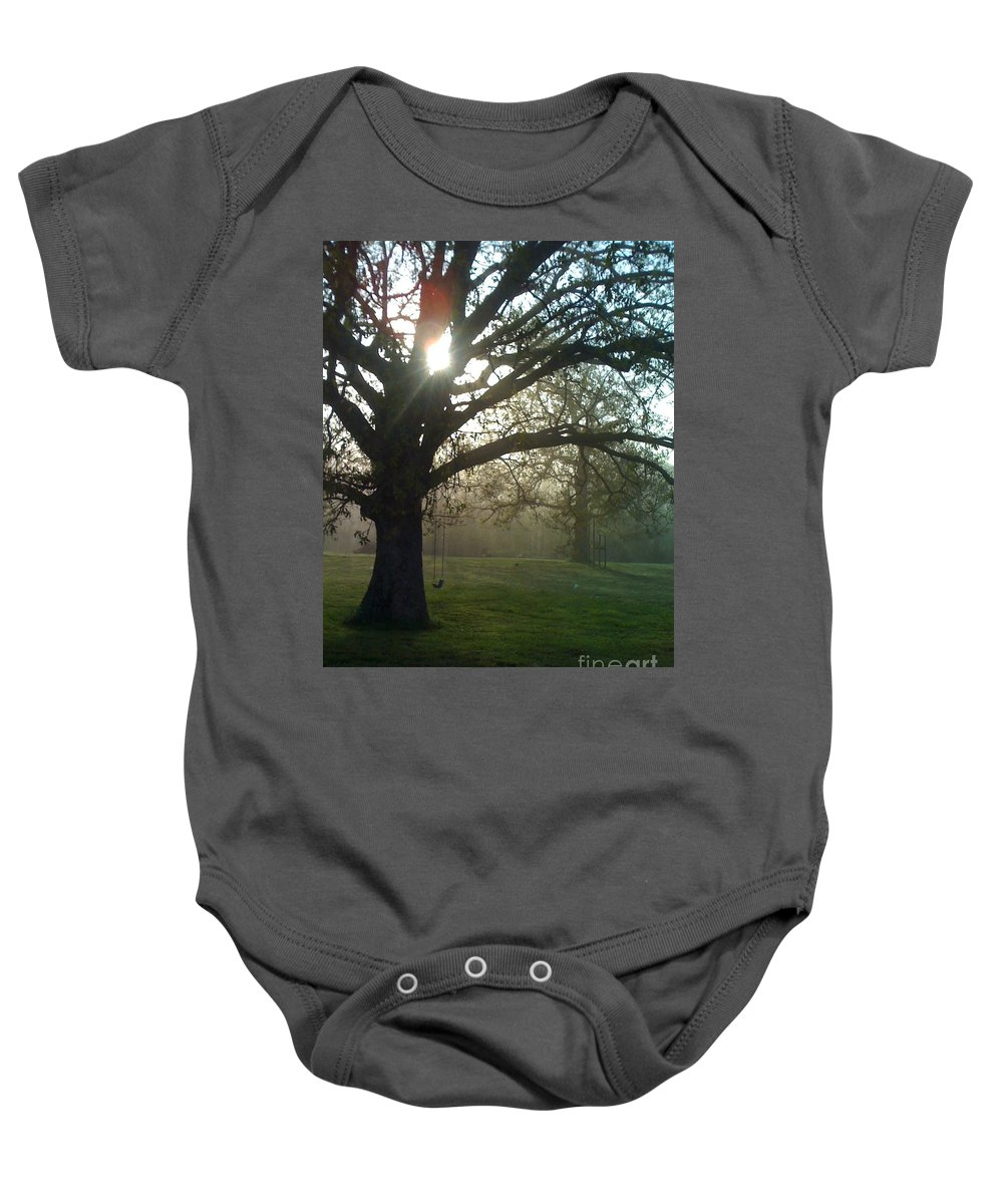Mist Baby Onesie featuring the photograph Misty Morning by Nadine Rippelmeyer