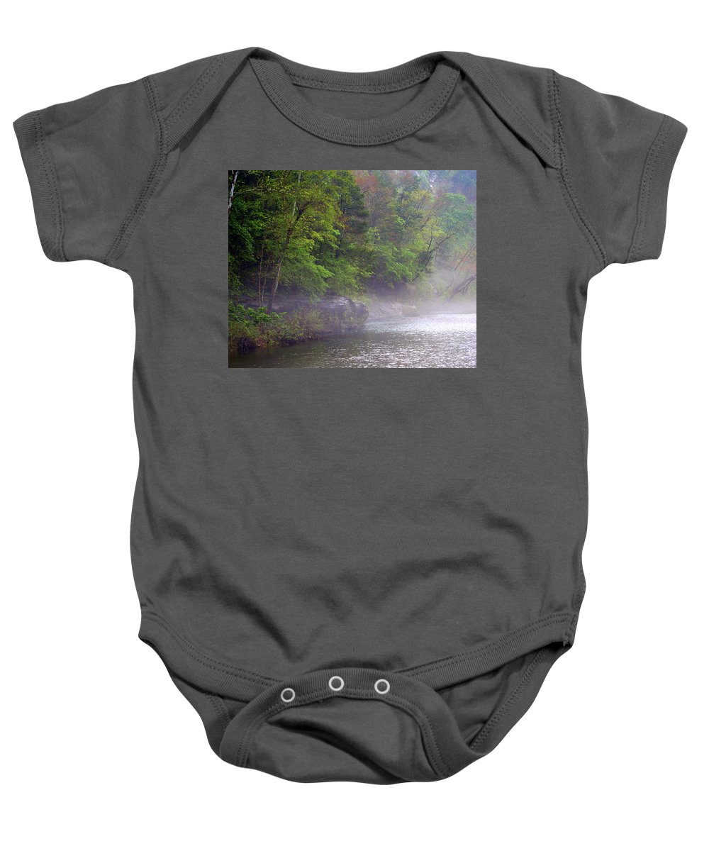 Buffalo National River Baby Onesie featuring the photograph Misty Morning On The Buffalo by Marty Koch