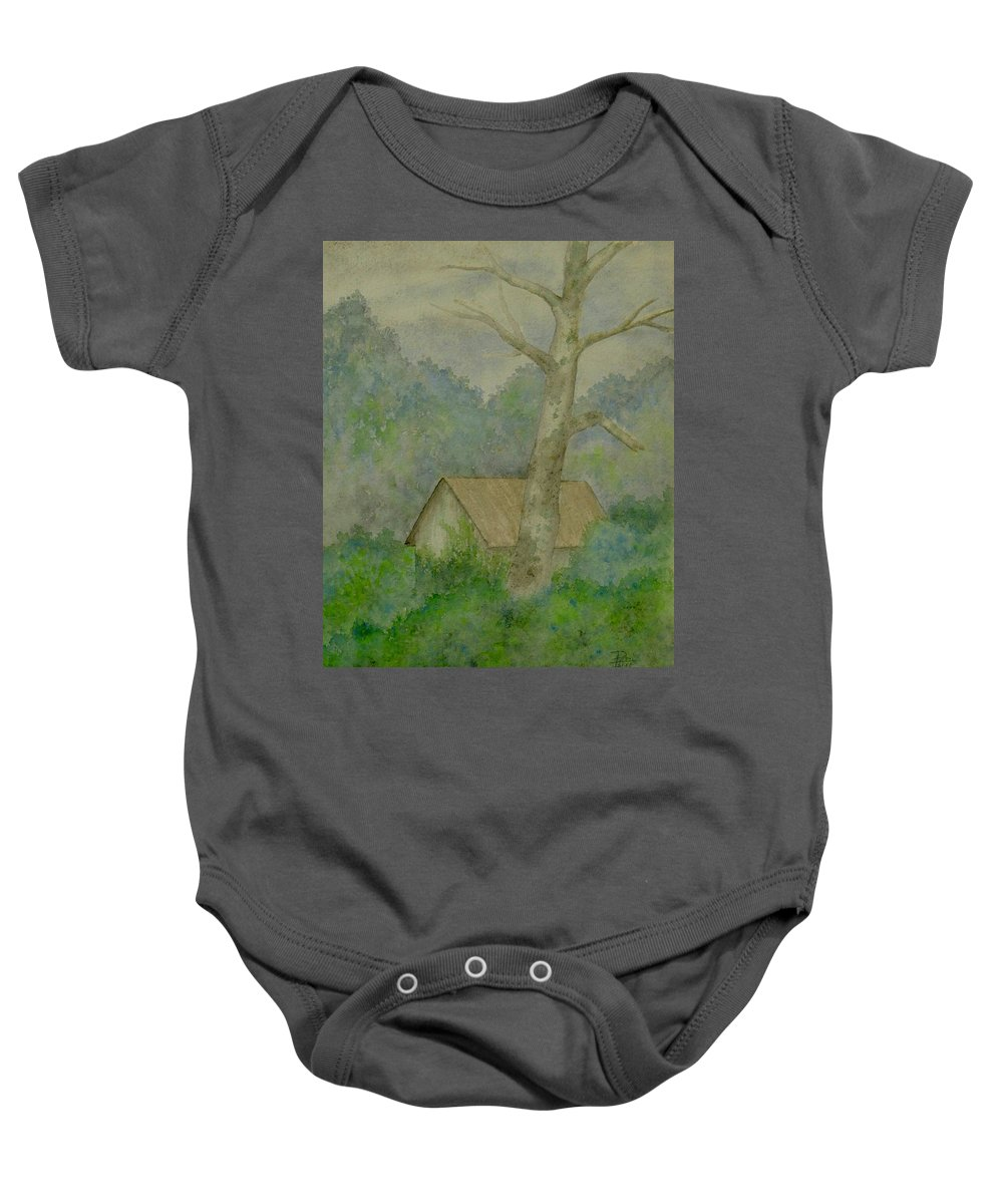 Watercoror Baby Onesie featuring the painting Misty Morning by Patti Ishee