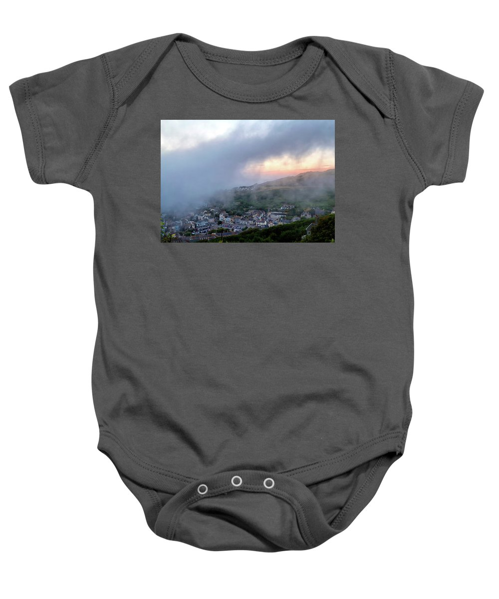 Nature Baby Onesie featuring the photograph Misty Sunset by Shirley Mitchell