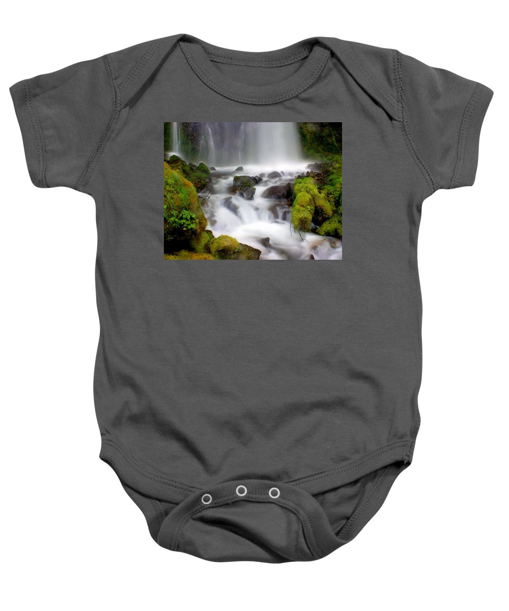 Waterfall Baby Onesie featuring the photograph Misty Waters by Marty Koch
