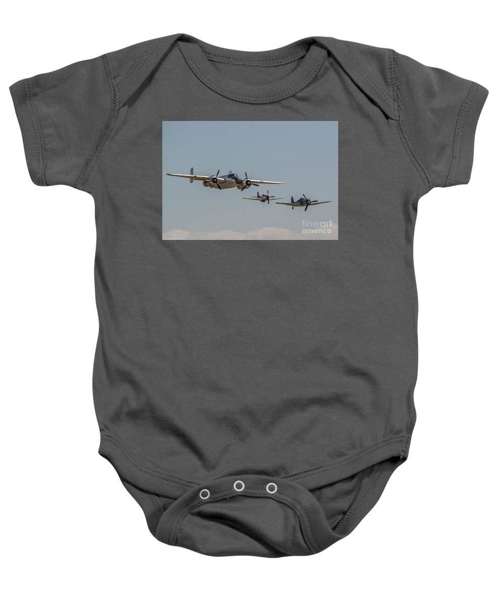 North American B-25 Mitchell Baby Onesie featuring the photograph Mitchell And Friends by Tommy Anderson