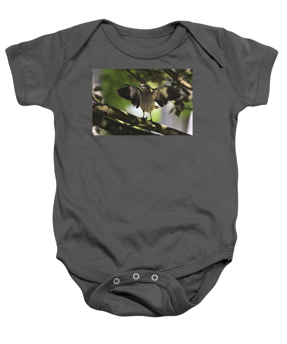 Terry D Photography Baby Onesie featuring the photograph Mockingbird by Terry DeLuco