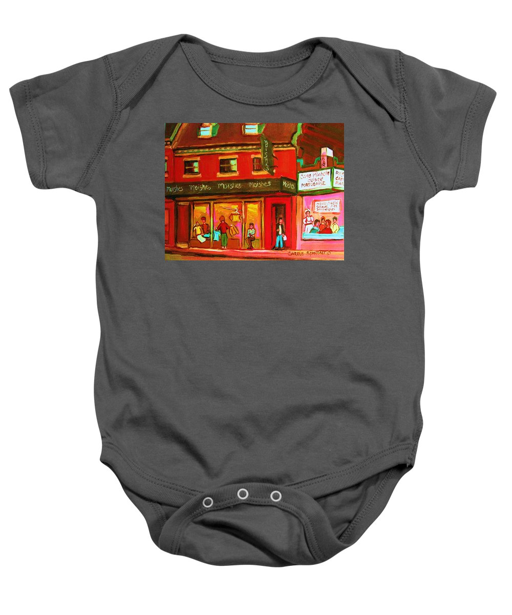 Moishes Baby Onesie featuring the painting Moishes Steakhouse On The Main by Carole Spandau