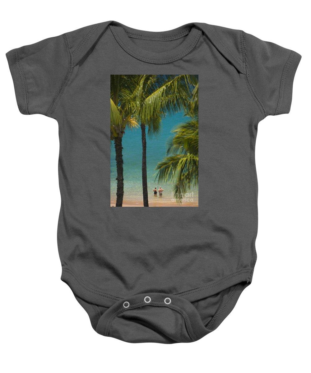 Beach Baby Onesie featuring the photograph Mokapu Beach Senior Couple by Ron Dahlquist - Printscapes