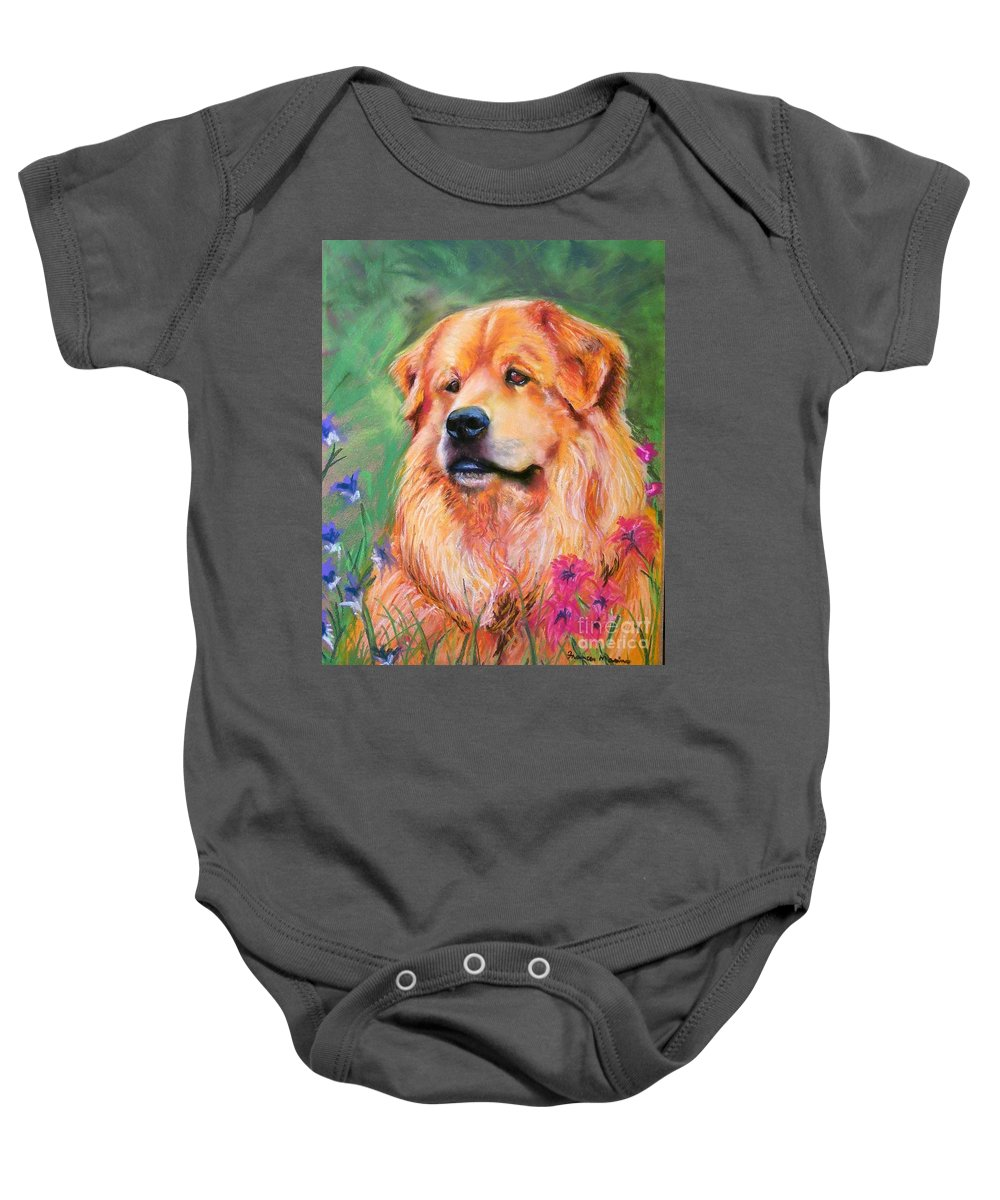 Chow Baby Onesie featuring the painting Molly by Frances Marino