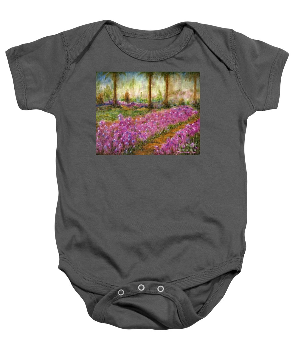 Monet Baby Onesie featuring the painting Monet's Garden In Cannes by Jerome Stumphauzer