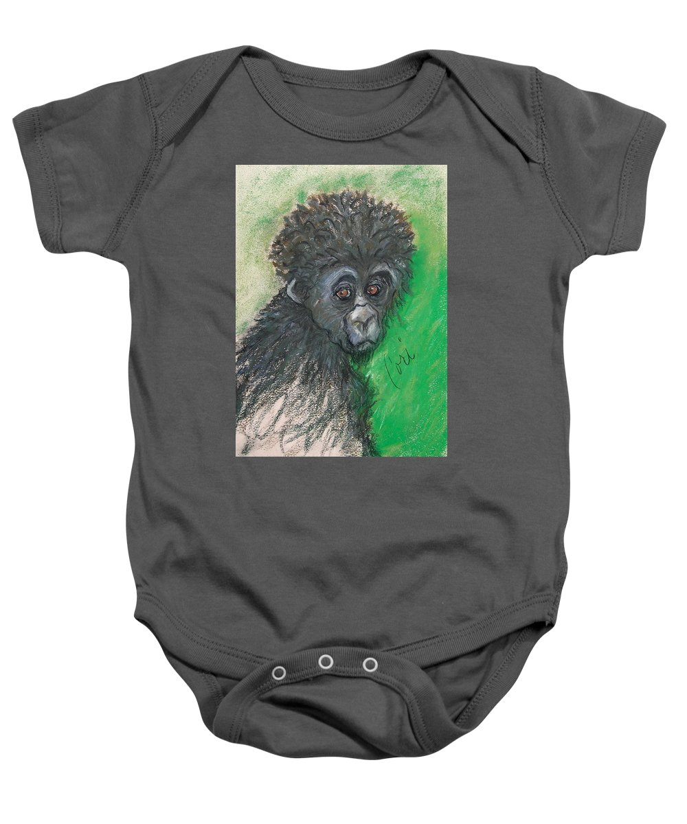 Monkey Baby Onesie featuring the drawing Monkey Business by Cori Solomon