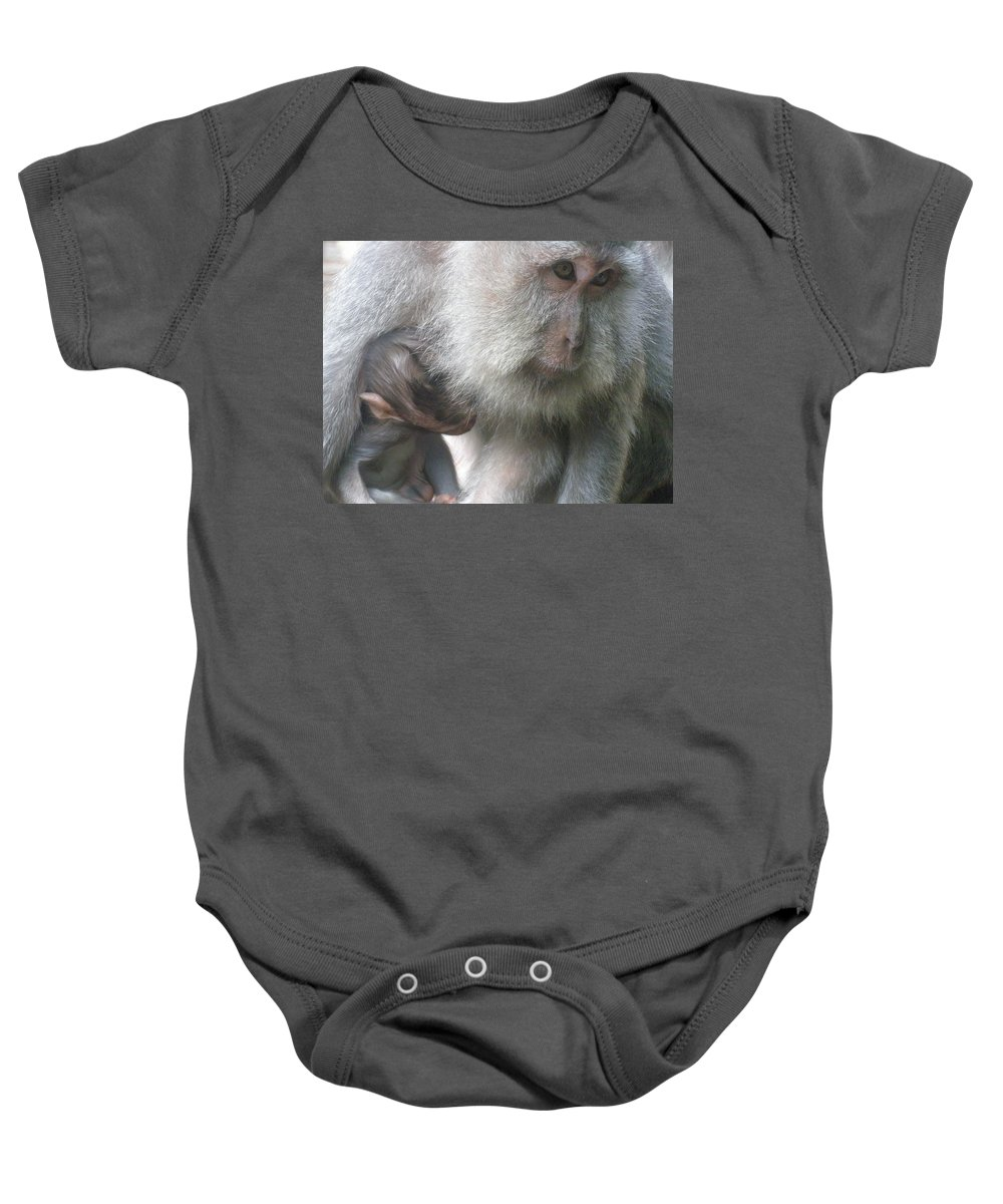 Bali Baby Onesie featuring the photograph Monkey Mother 3 by Mark Sellers