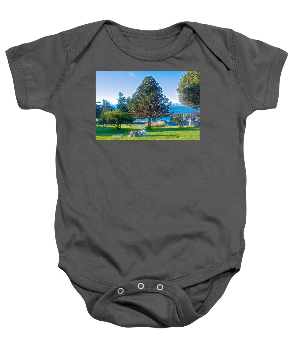 Monkey Puzzle Tree In Central Park In Bariloche Baby Onesie featuring the photograph Monkey Puzzle Tree In Central Park In Bariloche-argentina by Ruth Hager