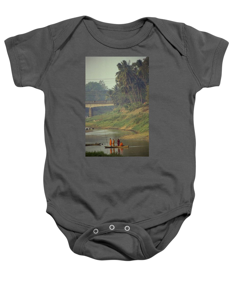 Monks Baby Onesie featuring the photograph Monks - Battambang by Patrick Klauss