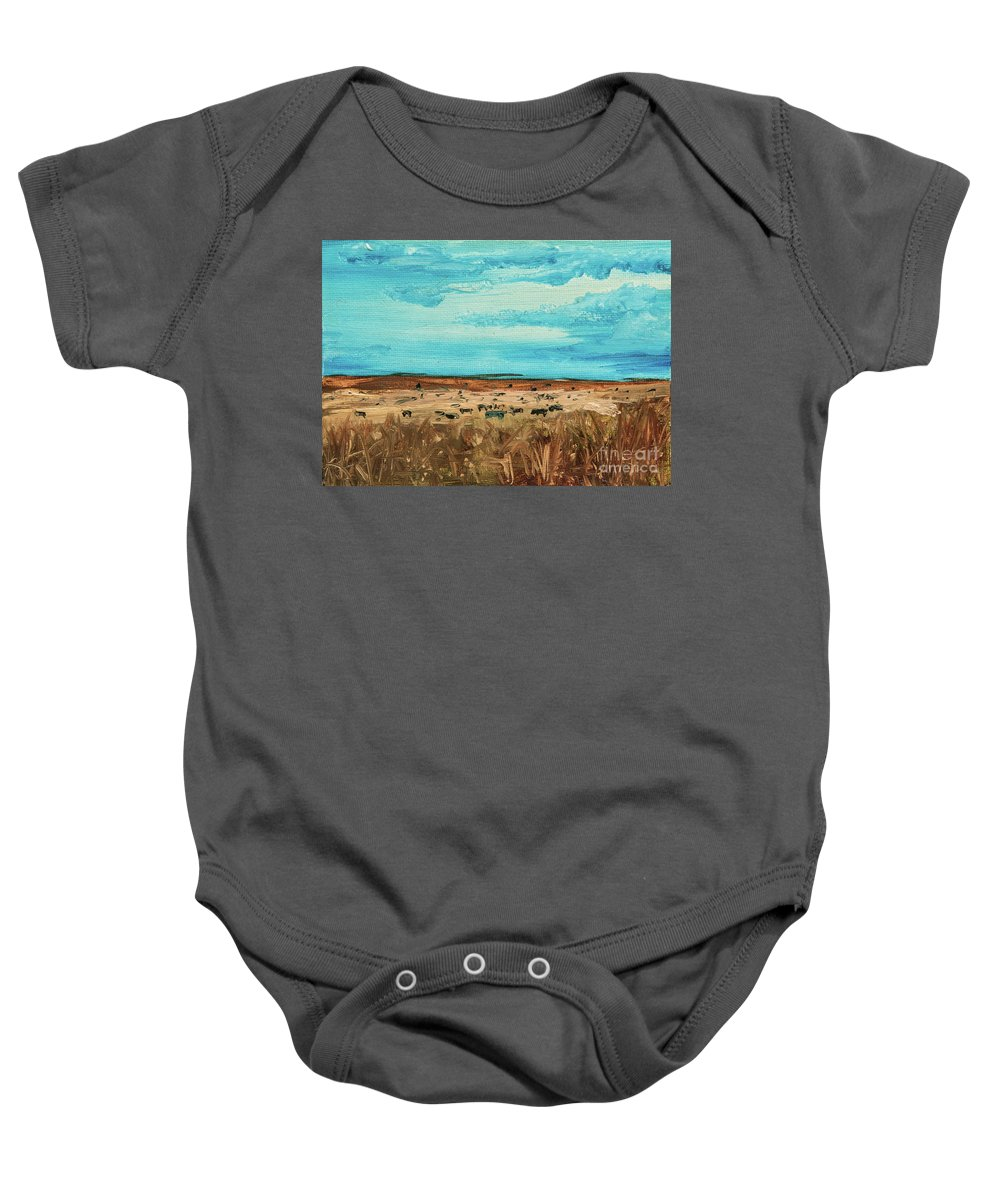 Cattle Baby Onesie featuring the painting Montana Range by Jodi Monahan