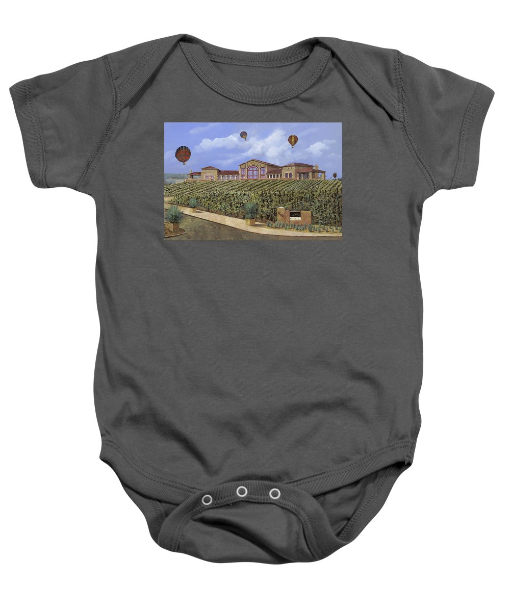 House Portrait  Baby Onesie featuring the painting Monte De Oro And The Air Balloons by Guido Borelli