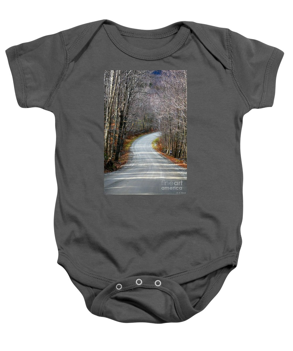Road Baby Onesie featuring the photograph Montgomery Mountain Road by Deborah Benoit