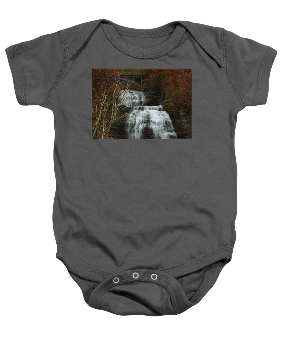 Fall Water New York Ny Baby Onesie featuring the photograph Montour Falls by Linda Murphy