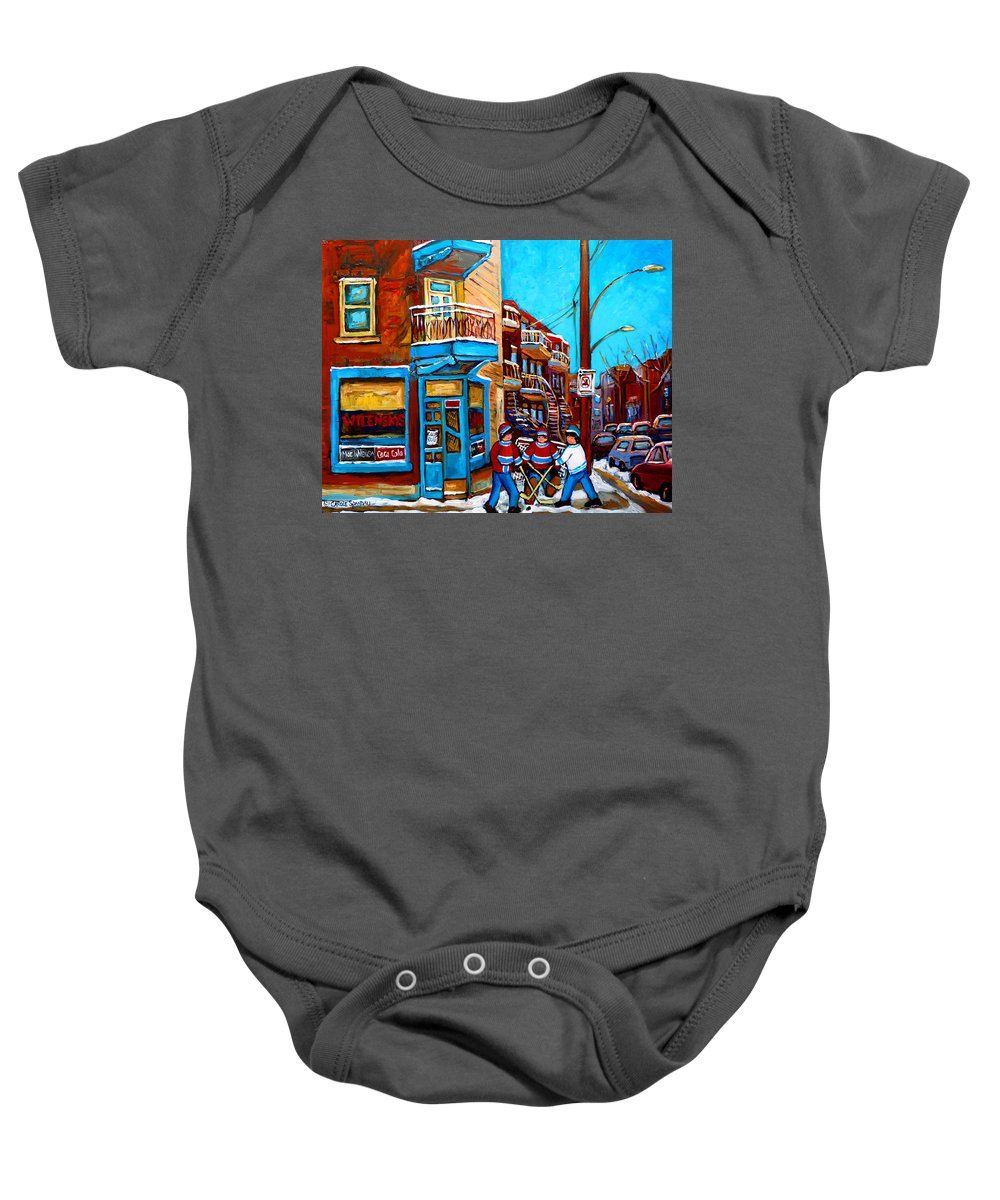 Montreal Baby Onesie featuring the painting Montreal City Scene Hockey At Wilenskys by Carole Spandau