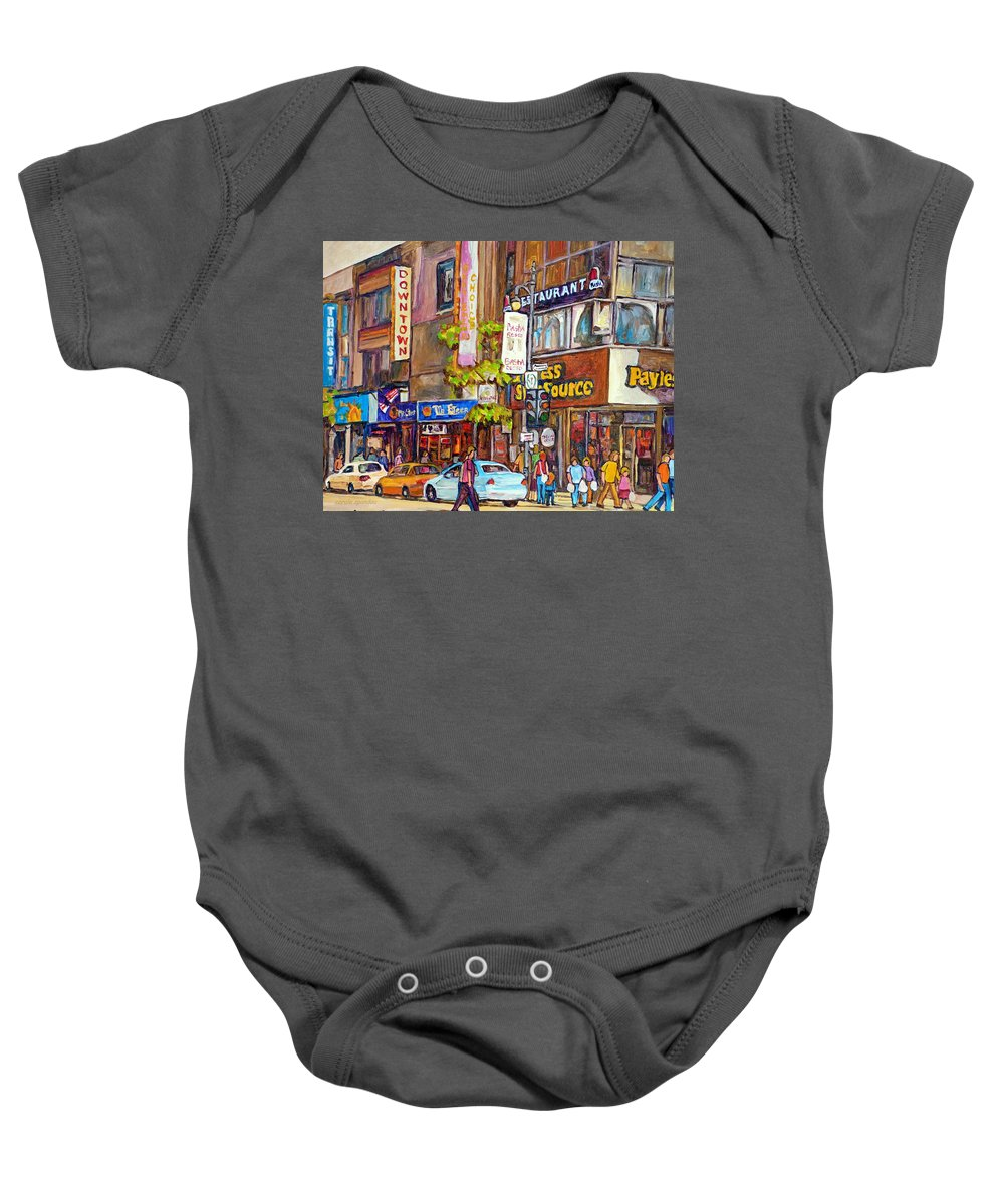 Montreal Baby Onesie featuring the painting Montreal St.catherine Street Corner Peel by Carole Spandau