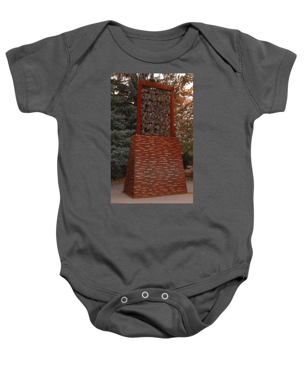 Monument Baby Onesie featuring the photograph Monument At N M State Captial by Rob Hans