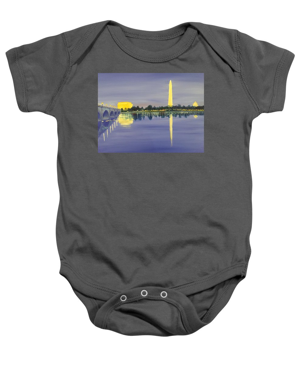 Landscape Baby Onesie featuring the painting Monumental Evening by Heike Gramckow