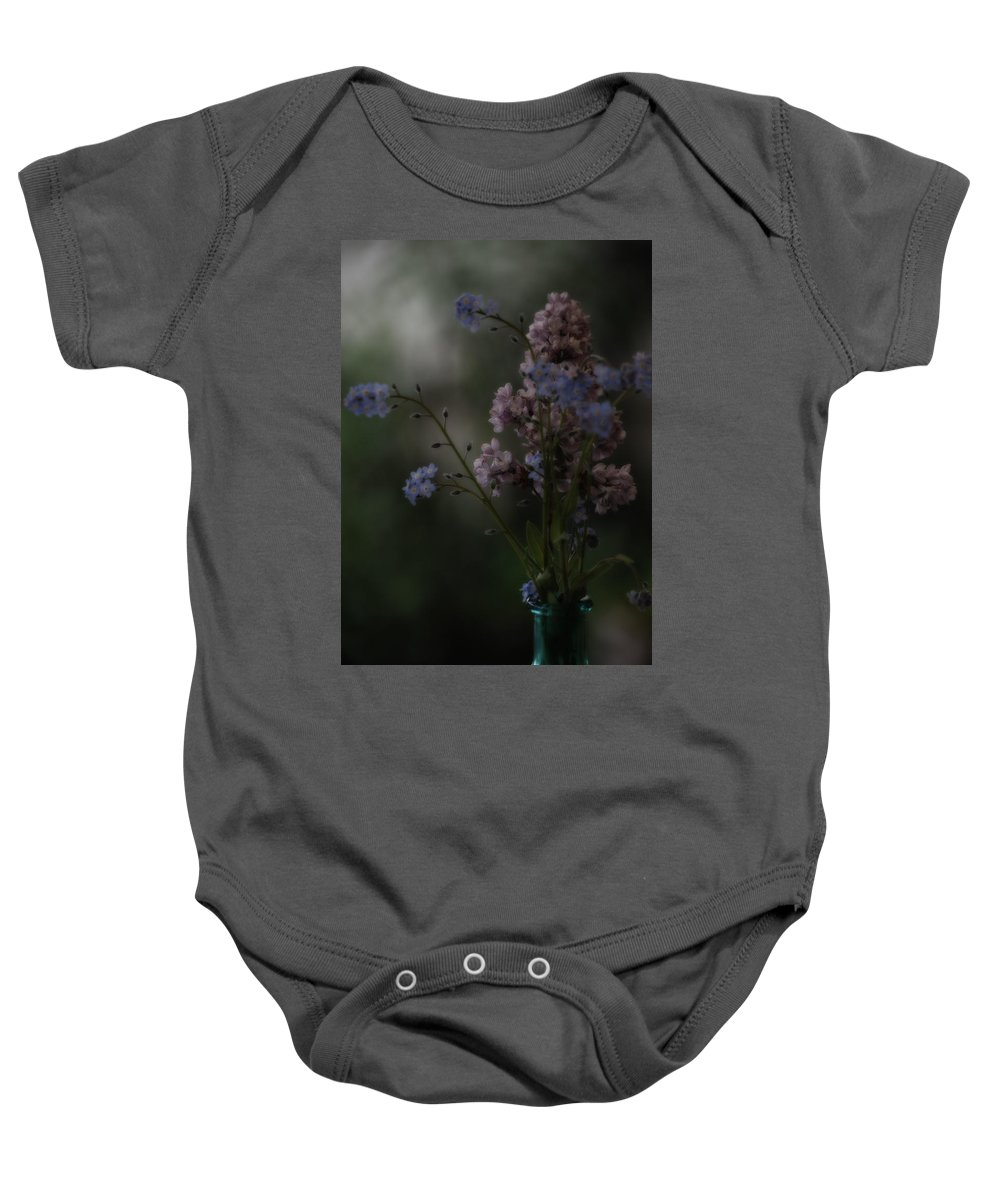 Lilacs Baby Onesie featuring the photograph Moody Bouquet by Bonnie Bruno