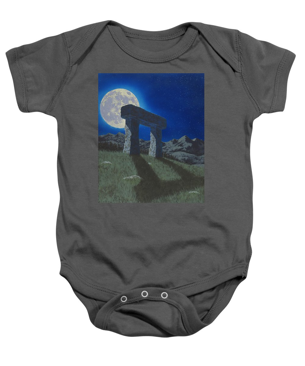 Moon Baby Onesie featuring the painting Moon Gate by Martin Bellmann
