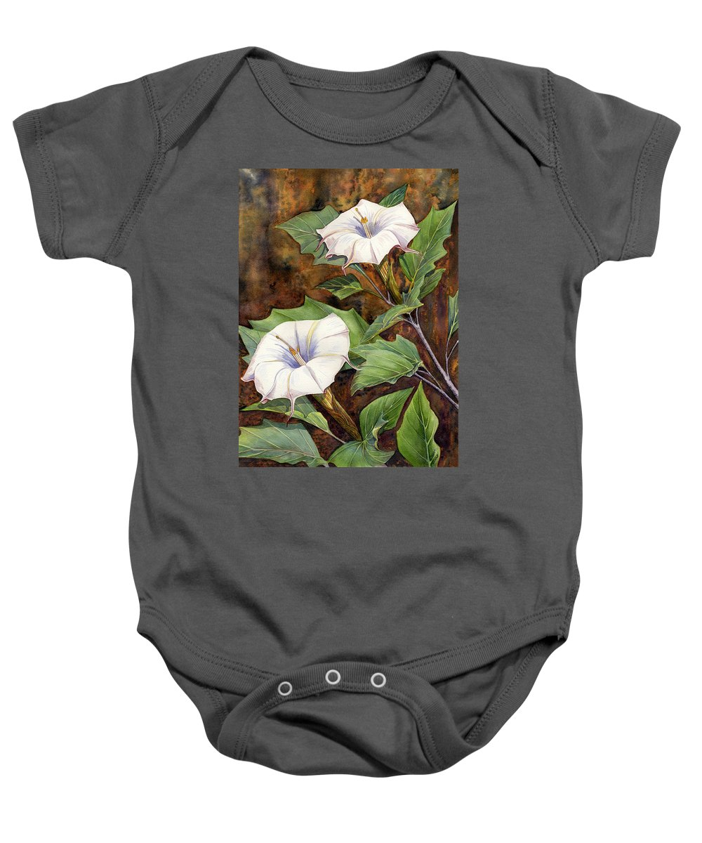 Sacred Datura Baby Onesie featuring the painting Moon Lilies by Catherine G McElroy