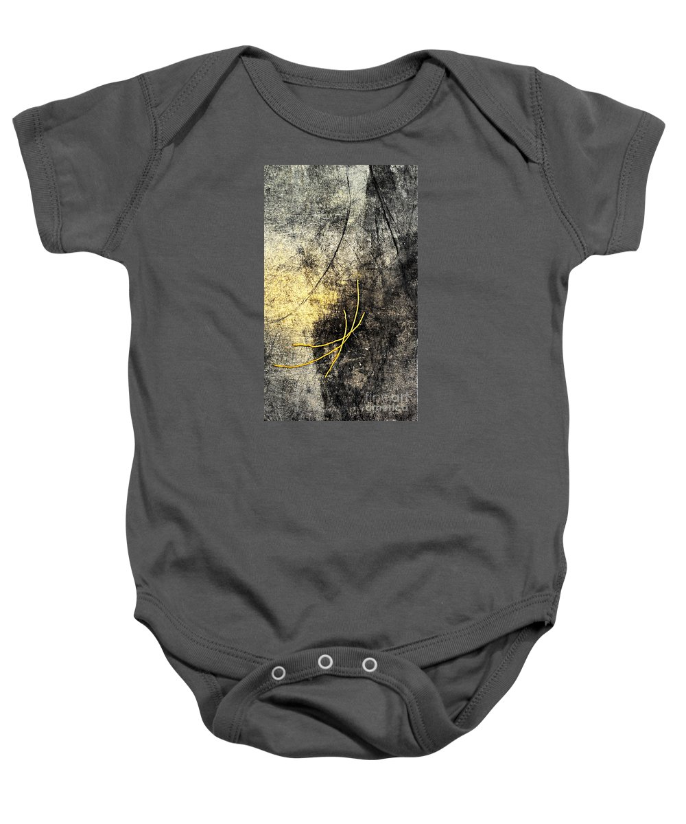Black Baby Onesie featuring the painting Moon Roots by Kaata  Mrachek