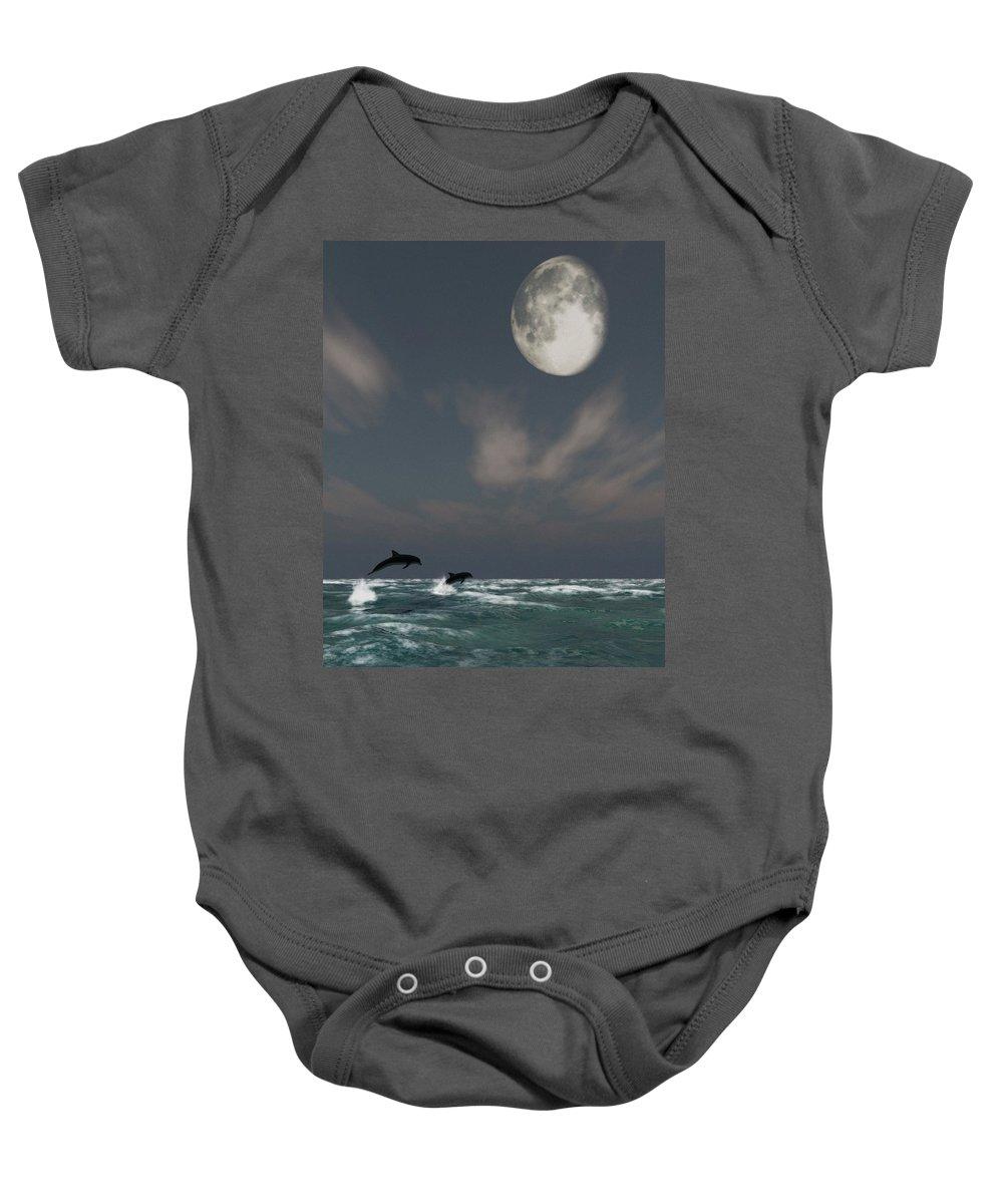 Oceans Baby Onesie featuring the digital art Moonlight Swim by Richard Rizzo